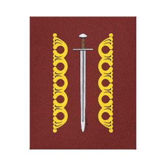 Espada normanda e bandas decorativas impressão em tela
