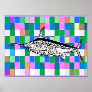 Espadarte no poster do pop art dos azulejos