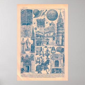 Espanha, construções históricas e produtos manufac pôsteres