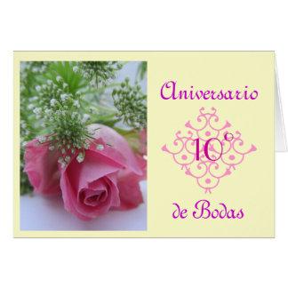 Espanhol: aniversario de Bodas (wedding annivesary Cartão