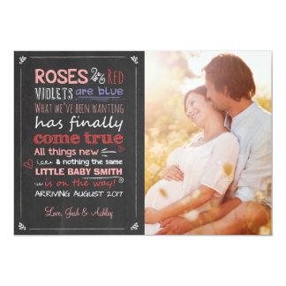 Espera do cartão do anúncio da gravidez dos convite 12.7 x 17.78cm