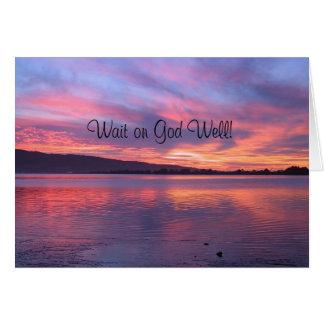 Espera no céu do cartão do poço do deus