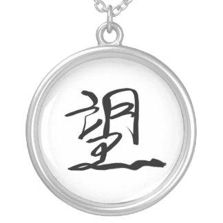 Esperança (chinesa) colar banhado a prata