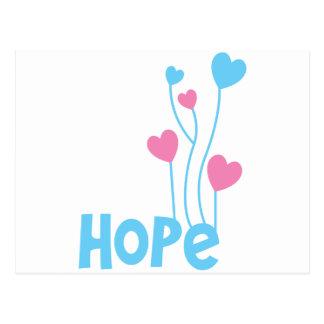 Esperança com balões do coração cartão postal