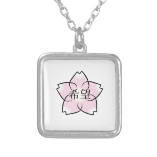 """""""Esperança, desejo, Kanji da flor de cerejeira do Colar Banhado A Prata"""
