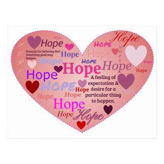 Esperança em um coração cartão postal