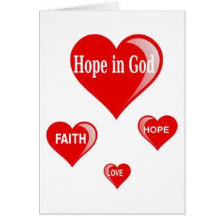 Esperança no cartão do deus
