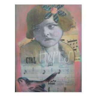 Esperanças da menina cartão postal