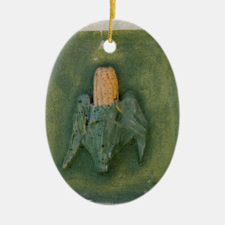 Espiga de milho ornamento de cerâmica oval