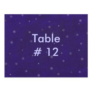Espirais brancas no azul cartão do número da mesa cartoes postais