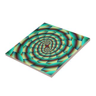Espiral da pele de cobra no azulejo do verde e do