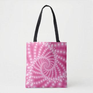 Espiral frisada cor-de-rosa lustrosa do Fractal Bolsas Tote