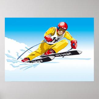 Esporte de inverno em declive do esquiador do pôster