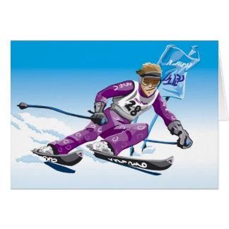Esporte de inverno gigante do esquiador do slalom cartão