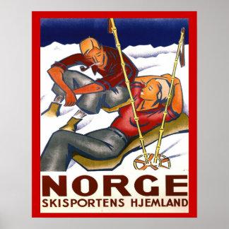 Esportes de inverno do vintage, Noruega, esporte d Pôster