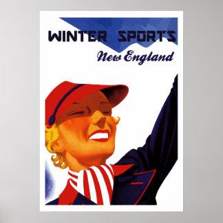 Esportes de inverno retros Nova Inglaterra do Pôster