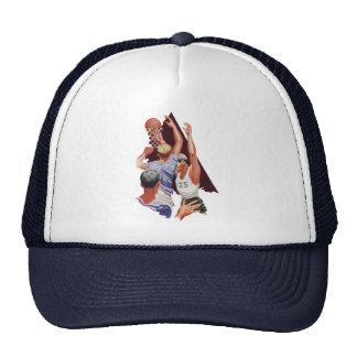 Esportes do vintage, jogadores de basquetebol em boné
