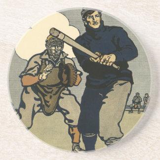 Esportes do vintage, jogadores de beisebol em um porta copos de arenito
