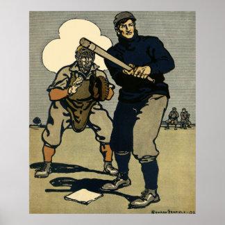 Esportes do vintage, jogadores de beisebol em um pôster