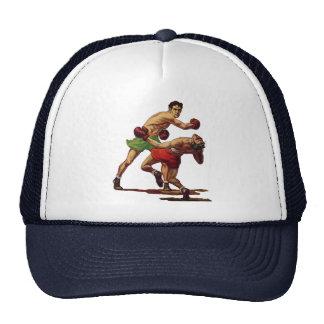 Esportes do vintage, pugilistas em uma luta do boné