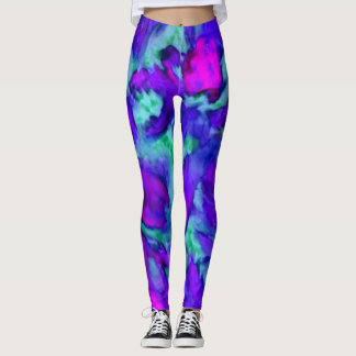 Esportes florais roxos da arte abstracta leggings