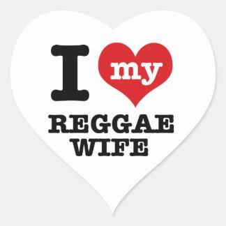 Esposa da reggae adesivo coração
