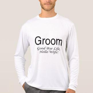 Esposa da vida do noivo adeus olá! t-shirts