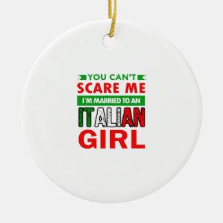 Esposa italiana da esposa ornamento de cerâmica redondo