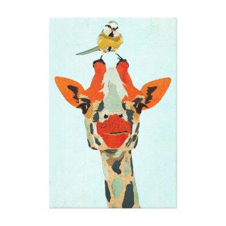 Espreitando o girafa & canvas pequenas do pássaro impressão em canvas