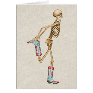 Esqueleto em botas de vaqueiro coloridas cartão comemorativo