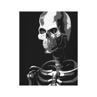 Esqueleto preto e branco impressão em tela