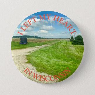 Esquerda meu coração em Wisconsin, botão da Bóton Redondo 7.62cm