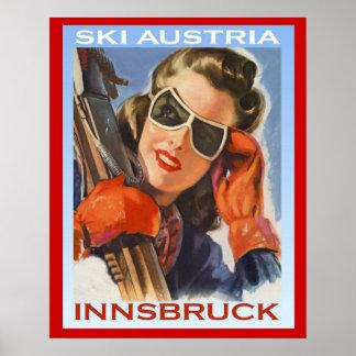 Esqui Áustria dos esportes de inverno do vintage,  Pôster