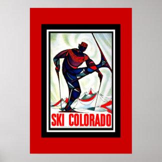 Esqui Colorado do poster das viagens vintage