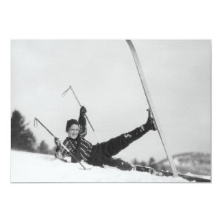 Esquiador 2 da mulher convite 12.7 x 17.78cm