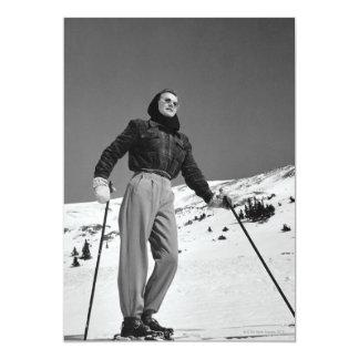 Esquiador da mulher convite 12.7 x 17.78cm