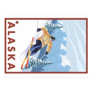 Esquiador da neve de Downhhill - Alaska Cartão Postal