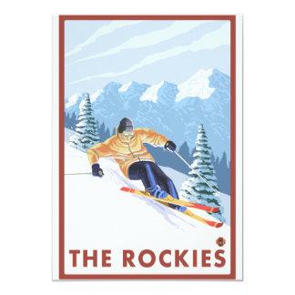 Esquiador da neve de Downhhill - as Montanhas Convite 12.7 X 17.78cm