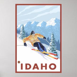 Esquiador da neve de Downhhill - Idaho Pôster