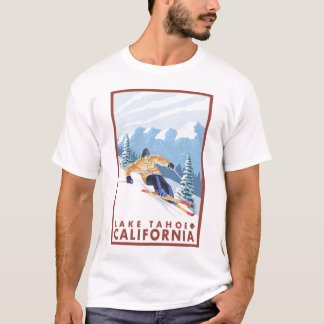 Esquiador da neve de Downhhill - Lake Tahoe, Camisetas