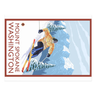 Esquiador da neve de Downhhill - montagem Spokane, Cartão Postal