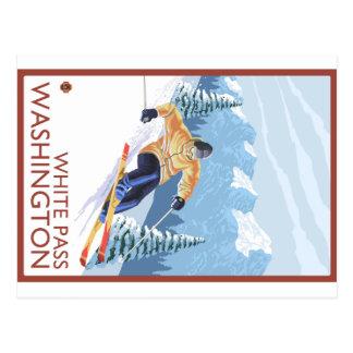 Esquiador da neve de Downhhill - passagem branca, Cartão Postal