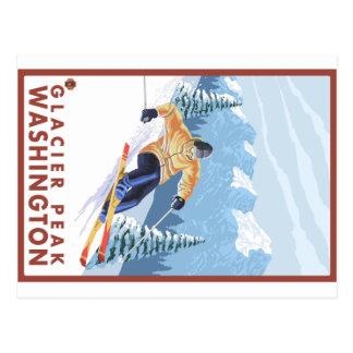 Esquiador da neve de Downhhill - pico da geleira, Cartão Postal