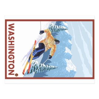 Esquiador da neve de Downhhill - Washington Cartão Postal
