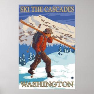 Esquiam as cascatas - poster de viagens do estado  pôster