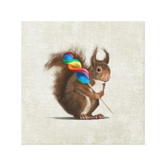 Esquilo engraçado com pirulito grande impressão em canvas