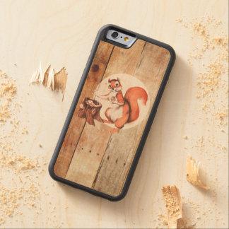 Esquilo engraçado na madeira capa de madeira de bordo bumper para iPhone 6