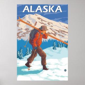 Esquis da neve do carregando do esquiador - Alaska Pôster