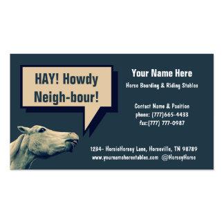 Estábulos equestres ou embarque do cavalo cartoes de visitas