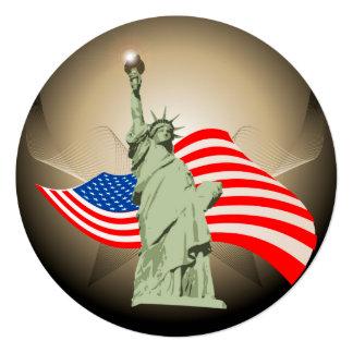 Estátua da liberdade convite quadrado 13.35 x 13.35cm